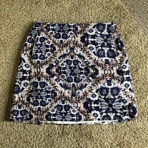 Joe Fresh Blue Floral Print Cotton Mini Skirt